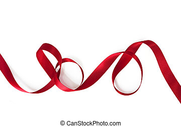 Red satin ribbon, curling over white background.