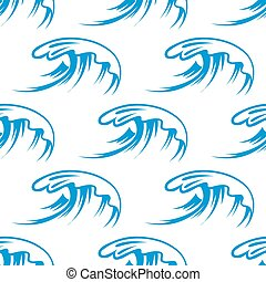 Curling sea waves seamless pattern