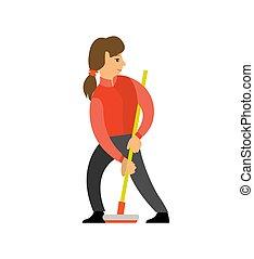 curling, shuffleboard, escoba, jugador, hembra, niña