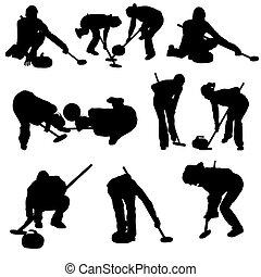 curling, silueta, conjunto