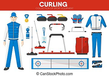 Curling sport equipment game player garment accessory vector icons set