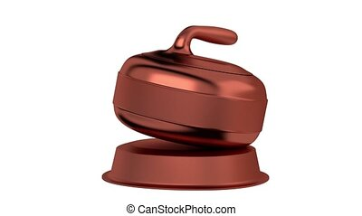 Curling Stone Bronze Trophy in Infinite Rotation with a...