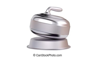 Curling Stone Silver Trophy in Infinite Rotation
