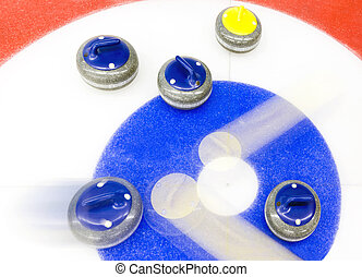 Curling tactics - Blue stone precicely delivered, to bounce...