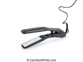Curling Tongs - Modern curling tongs on white background. ...