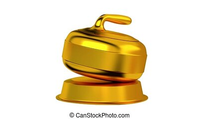 Curling trophy in Gold Turning with white background