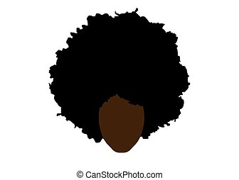 curly afro hair, portrait African Woman , dark skin female face with ethnic traditional curly hair afro, cartoon style, hair style concept, vector isolated or white background