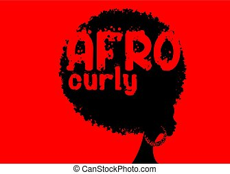 curly afro hair, portrait African Women , dark skin female face with curly hair afro, ethnic traditional earrings, hair style concept, Afro grunge text, vector isolated or red background