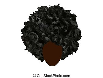 curly afro hair, portrait African Women , dark skin female face with curly hair afro, ethnic traditional hair style concept, vector isolated or white background