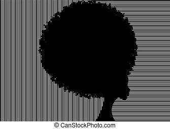 curly afro hair, portrait African Women , dark skin female face with curly hair afro, silhouette ethnic traditional coiffure, hairstyle concept, vector isolated or striped background