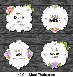 Curly banner - Set of banners with flowers, pearls and...