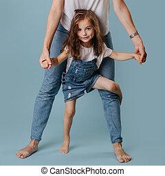 curly, ben, kigge, pige, hår, mor, smukke, model