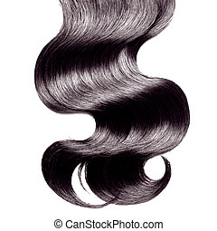 Curly black hair over white