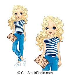 Curly Blonde Girl In Denim Trousers