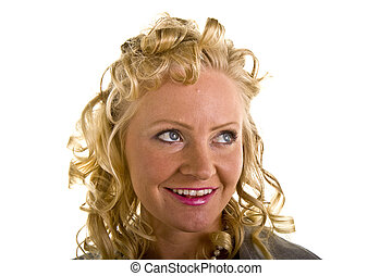 Curly Blonde Pink Lipstick Looking Up