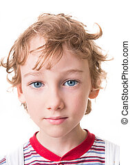 curly boy face in close-up - Portrait of a gay boy six years...