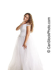 Curly bride gesturing hush
