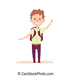 Curly cheerful boy with burgundy brief-bag waving by hand vector illustration. Smiling pupil dressed in green shirt and purple trousers.