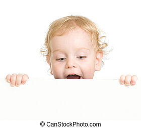 Curly child holding blank advertising banner