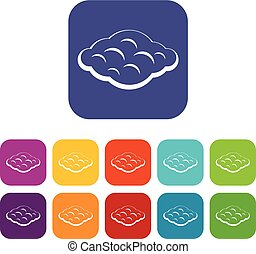 Curly cloud icons set flat