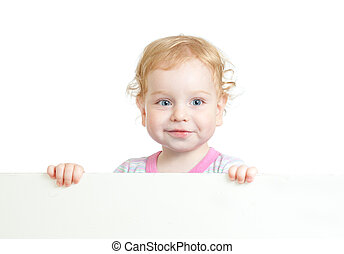 Curly cute child face holding blank advertising banner