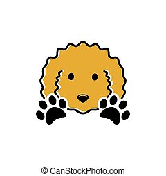 Curly dog and paw print vector illustration