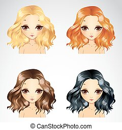Curly Fluffy Hairstyle Set