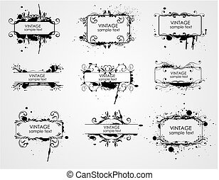 curly grunge vintage frames - vector illustration