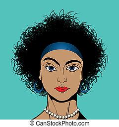 Curly hair blue eyes girl avatar drawing