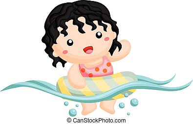 Curly hair girl swimming happily