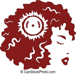 Curly hair girl vector logo design.