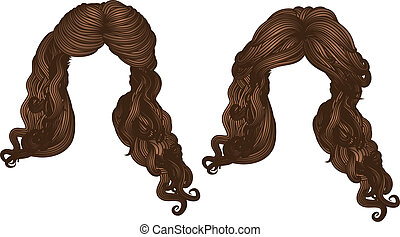 Curly hair of brown color - Illustration of hand drawn curly...