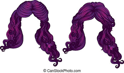 Curly hair of purple color