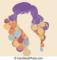 Curly hair , retro style vector illustration