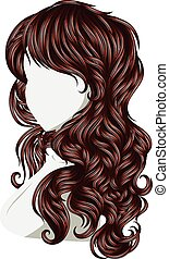 Curly Hair Style - Long female curly hair style, fashion...