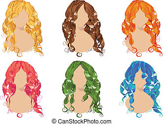 Curly Hair Styles - Set of curly hair styles in different...