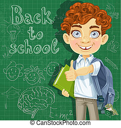 Back to school - curly-haired boy with books at the blackboard