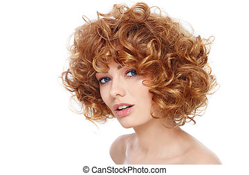 Curly hairstyle - Young beautiful happy healthy woman with ...
