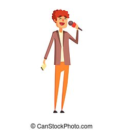 Curly Journalist Asking Question On Press Conference, Official Press Reporter Working, Collecting Information And Making News, Part Of Journalism Set Of Illustrations. Cartoon Character Doing Journalistic Job For Magazine Or Television.