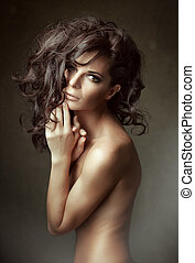 curly, længe, portrait., sensuelle, kvinde, hair.
