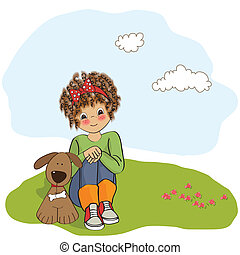 curly little girl and her dog