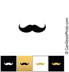 Curly mustache 70s retro man vector icon. Curly mustache 70s...