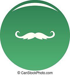 Curly mustache icon vector green