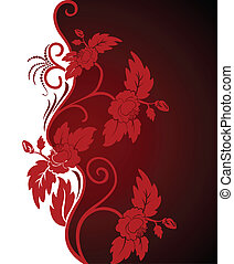 curly red flowers - white and red asymmetric background with...