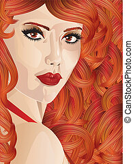 Curly red haired girl - Beauty portrait of a woman with...
