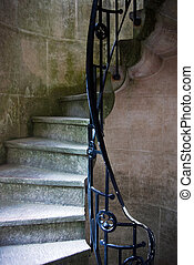 Curly Stairway - Detail of a curl-shape narrow stairway of a...