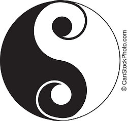 Yin-Yang tattoo - Curly type of Yin-Yang tattoo.