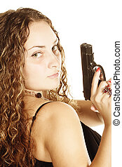 Curly woman with gun