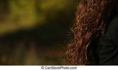 Curly Womans Hair - health womans hair on the wind