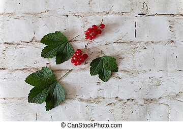 currant berries with green leaves on a light background